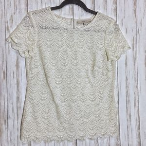 Loft Lace Scalloped Ivory Short Sleeve Blouse